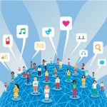 Globe illustration with social media icons: MaxFilings Small Business Marketing Blog