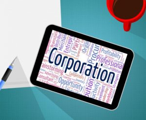 Corporation Word Represents Business