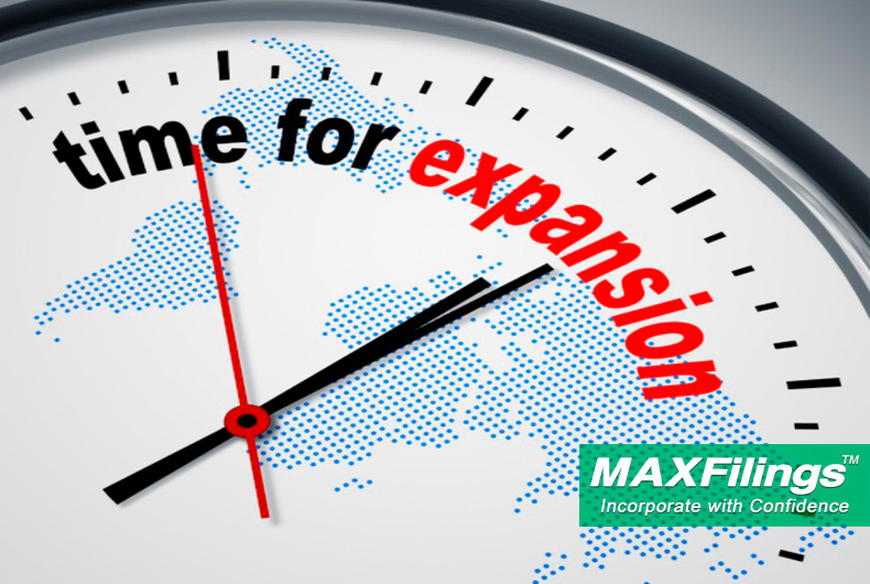 business expansion timing; MaxFilings business incorporation