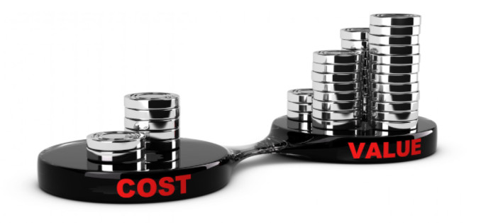 Cost and value concept coin piles: MaxFilings Small Business Marketing Blog
